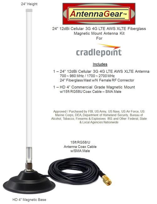 12dBi Verizon Novatel T1114 Router Cellular LTE AWS XLTE Mag Mount Antenna-SMA M