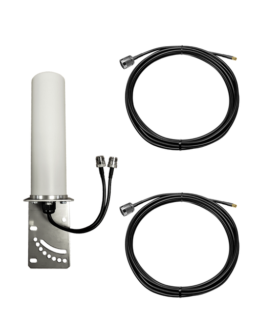 M19B Omni Directional MIMO 2 x Cellular 4G LTE CBRS 5G NR IoT M2M Bracket Mount Antenna w/Coax Cable Kit Options