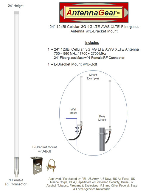 12dBi Accelerated 6300-CX Router Omni Directional Fiberglass 4G 5G LTE XLTE Antenna Kit w/Cable Length Options