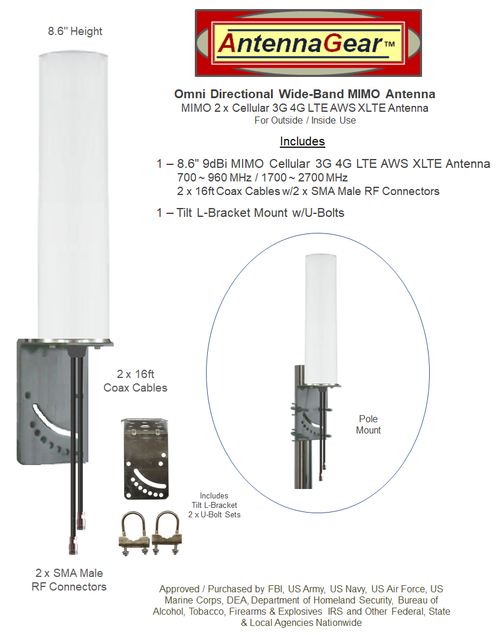 9dBi Accelerated 5400-RM M19 Omni Directional MIMO Cellular 4G 5G LTE AWS XLTE M2M IoT Antenna w/2 x 16ft Coax Cables - 2 x SMA Male