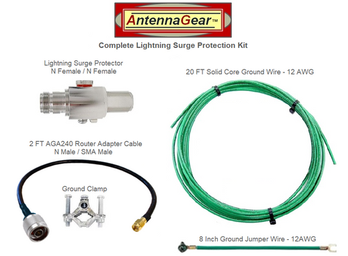 Antenna System Lightning Surge Protector Arrester w/ Grounding Kit + AGA240 Router Adapter Cable - Detail