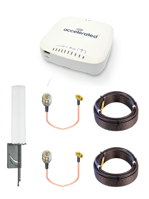 Accelerated 6335-MX LTE Router CAT 3 w/ 9dBi MIMO Antenna, 2 x 100 FT Cables + 2 x Adapters - SMA Male