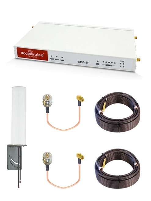 Accelerated 6350-SR LTE Router CAT 6 w/ 9dBi MIMO Antenna, 2 x 75 FT Cables + 2 x Adapters - SMA Male