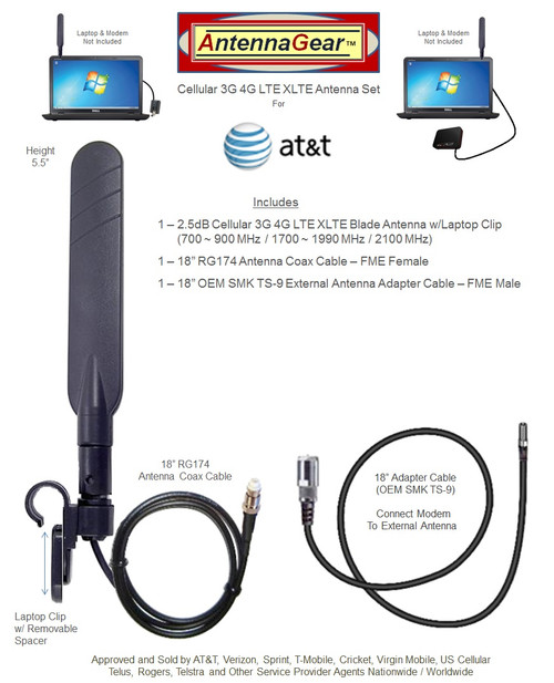 BLADE External Antenna w/Laptop Clip For AT&T ZTE Velocity 2 MF985 Mobile Hotspot