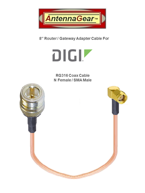 12dBi DIGI Transport WR11 - XT Router Omni Directional Fiberglass  4G 5G LTE XLTE Antenna Kit w/ Cable Length Options