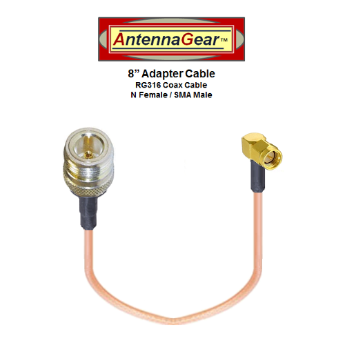 """8"""" DIGI Transport WR44R Cellular External Antenna Adapter Cable - N Female / SMA Male"""