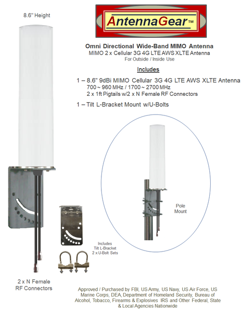 9dBi DIGI Transport LR54 Router M16 Omni Directional MIMO Cellular 4G LTE AWS XLTE M2M IoT Antenna w/2 x 1ft Coax Cables -2  x NF. Add-on Extension Cables Available!