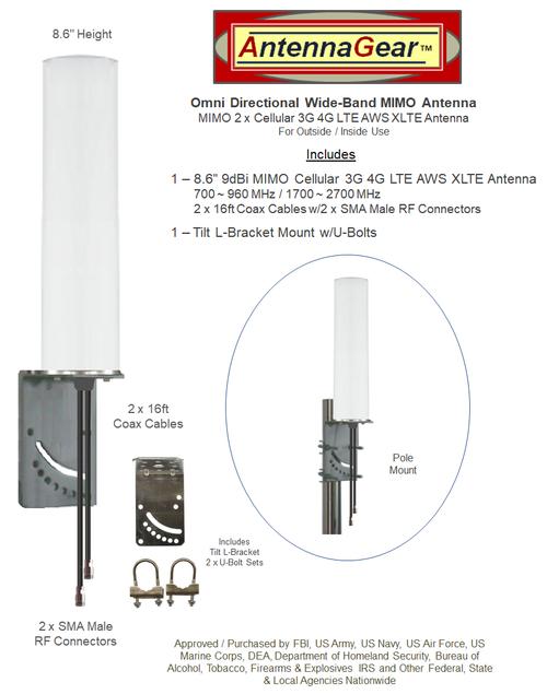 9dBi Sierra Wireless LX60 Gateway M16 Omni Directional MIMO Cellular 4G LTE AWS XLTE M2M IoT Antenna w/16ft Coax Cables -2  x SMA