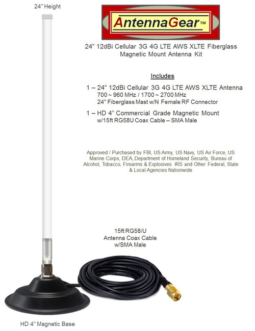 12dBi Cradlepoint CBA850 Router Fiberglass Antenna Cellular 4G LTE AWS XLTE M2M IoT with Mag Mount.