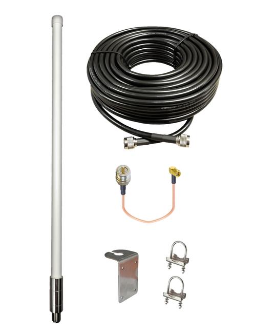 M1200 Omni Directional Fiberglass Cellular 4G LTE CBRS 5G M2M IoT Antenna Bundle w/Coax Cable Kit Options