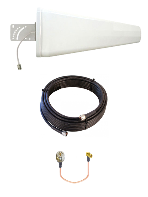 M12-YAGI 12dBi Log Periodic Directional Cellular 4G LTE CBRS 5G M2M IoT Antenna Bundle w/Cable Kit Options
