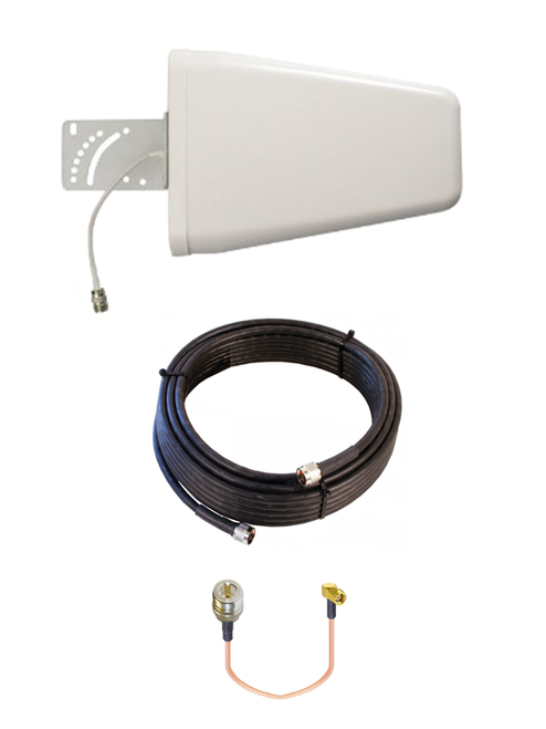 M10-YAGI 10dBi Log Periodic Directional Cellular 4G LTE CBRS 5G M2M IoT Antenna Bundle w/Cable Kit Options