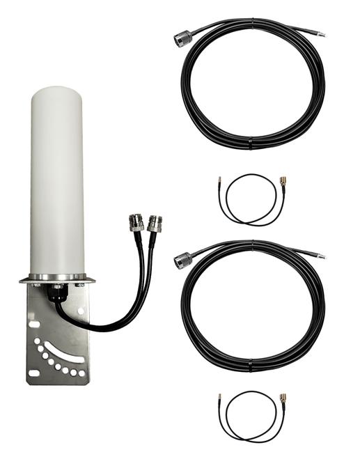 M19B Omni Directional MIMO 2 x Cellular 4G LTE CBRS 5G NR IoT M2M Bracket Mount Antenna w/Coax Cable Kit Options for Verizon Novatel Jetpack MiFi 7730L