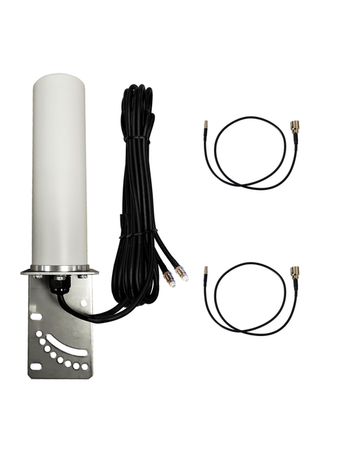 M19B Omni Directional MIMO 2 x Cellular 4G LTE GPRS 5G NR IoT M2M Bracket Mount Antenna w/2 x 16ft Coax Cables for Verizon Novatel Jetpack MiFi 7730L