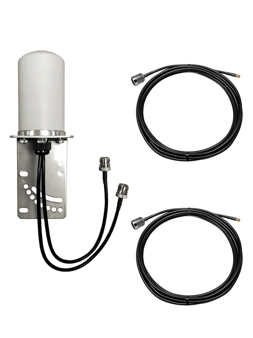 M17B MIMO Omni Directional 2 x Cellular 4G LTE 5G IoT M2M Bracket Mount Antenna w/Coax Cable Kit Options