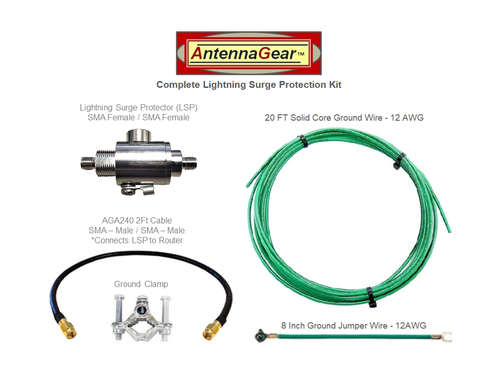 Antenna System Lightning Surge Protector Arrester - SMA-F w/ Grounding Kit + AGA240 Router Adapter Cable - Detail