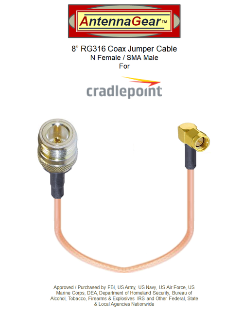 """8"""" Cradlepoint W2000 Cellular / GPS Antenna Adapter Cable - N Female / SMA Male"""