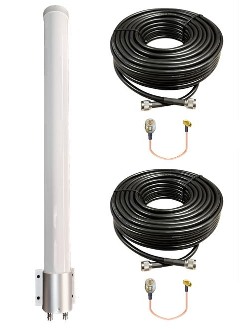 BEC 6500AEL - M39 MIMO Omni Directional Fiberglass Cellular 3G 4G 5G LTE Band 71 External Data M2M IoT Antenna - 2x NF - Kit