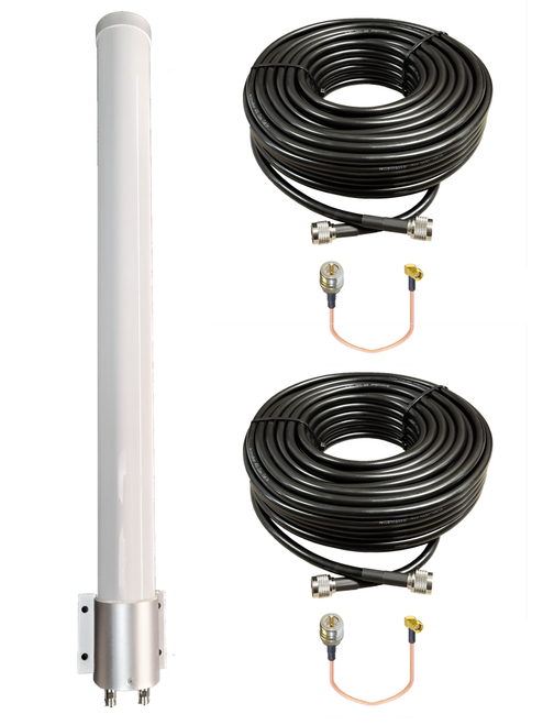 BEC MX-200Ae - M39 MIMO Omni Directional Fiberglass Cellular 3G 4G 5G LTE Band 71 External Data M2M IoT Antenna - 2x NF - Kit