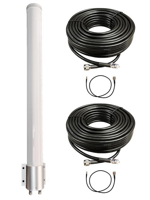 M39 Omni Directional MIMO 2 x Cellular 4G LTE CBRS 5G NR M2M IoT Antenna w/Coax Cable Kit Options for Verizon Novatel Jetpack MiFi 7730L
