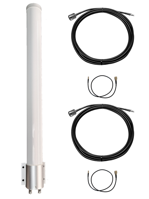 M39 Omni Directional MIMO 2 x Cellular 4G 5G LTE Antenna for Netgear LM1200 w/Bracket Mount - 2 x N Female w/Cable Length Options.