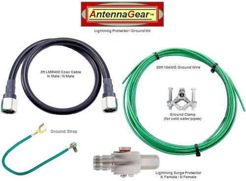 Antenna System Lightning Surge Protector Arrester w/Grounding Kit - Detail
