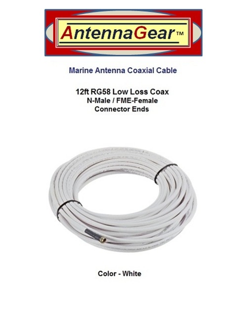 12ft RG58U White External Marine Antenna Coax Cable N-M / FME-F