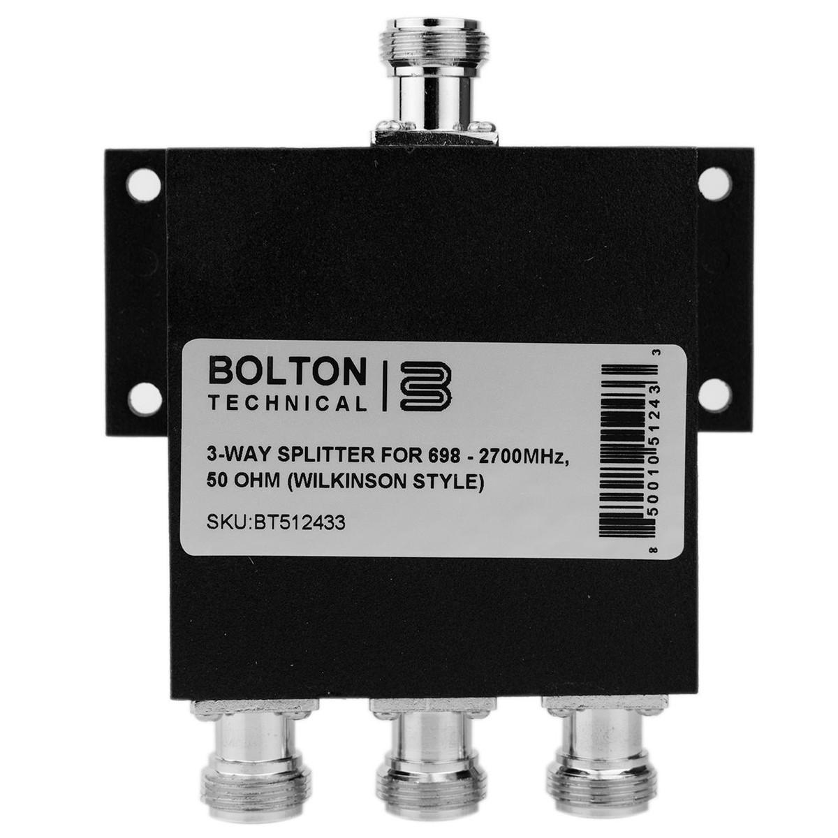 Bolton Tech Bolton Technical Low-PIM 3-Way Splitter 698-2700Mhz 50 Ohm Wilkinson Style