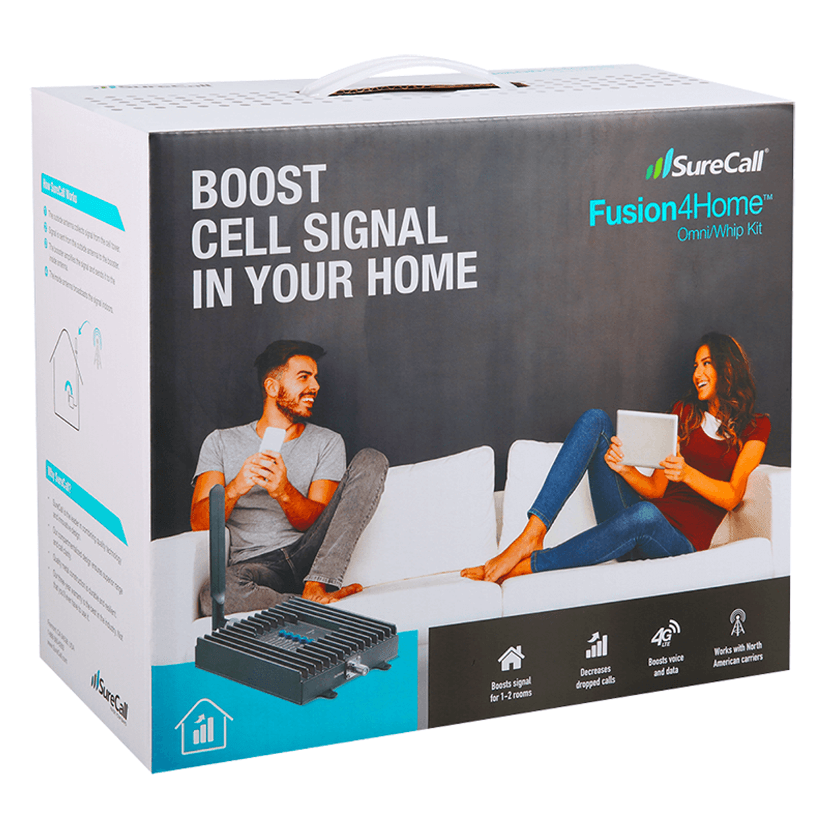 SureCall Fusion4Home Cell Phone Signal Booster, Omni/Whip Antenna Packaging Box