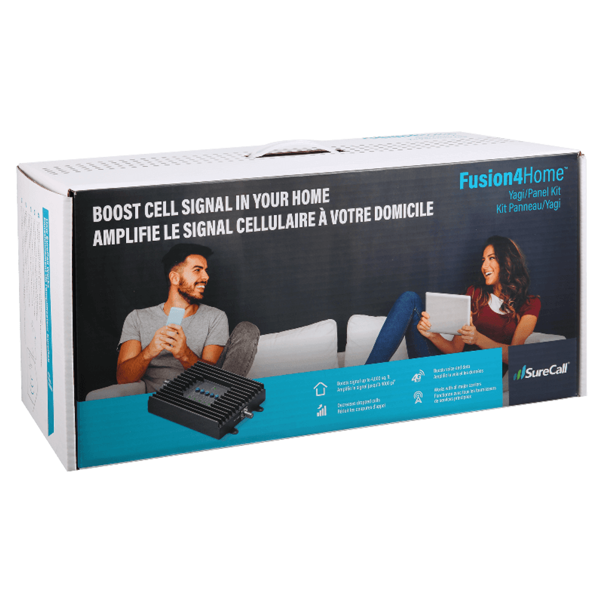 SureCall Fusion4Home Yagi Panel Signal Booster Kit Box