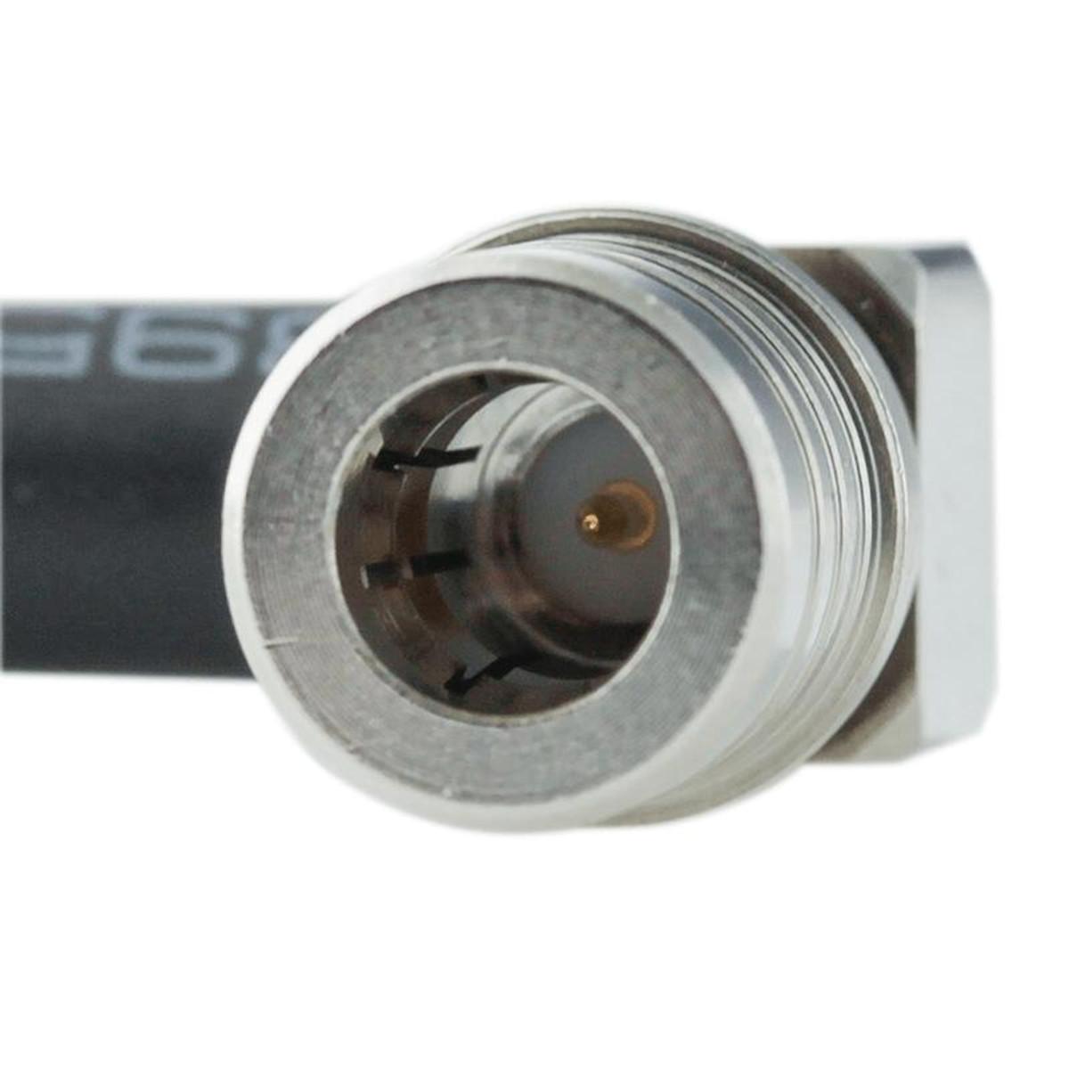 Bolton Tech Bolton Technical 1 foot N-Female Bulkhead to QMA-Male Angle Coax RF Pigtail Cable