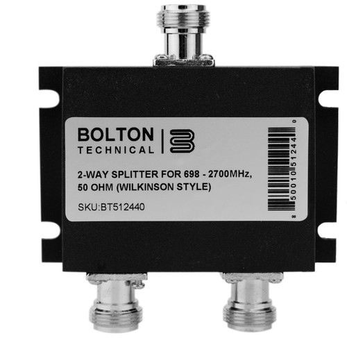 Bolton Tech Bolton Technical Low-PIM 2-Way Splitter 698-2700Mhz 50 Ohm Wilkinson Style