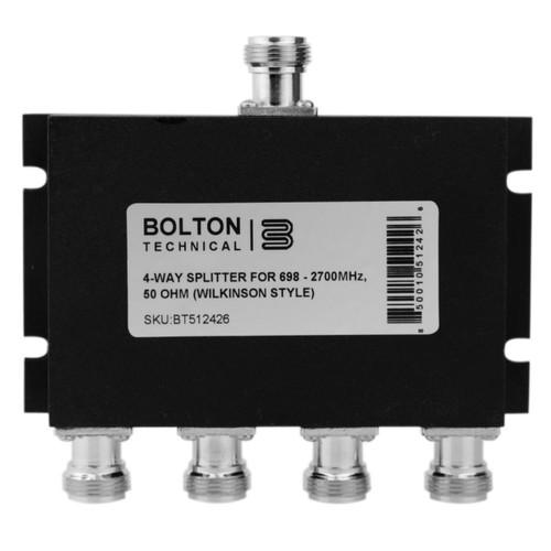 Bolton Tech Bolton Technical Low-PIM 4-Way Splitter 698-2700Mhz 50 Ohm Wilkinson Style