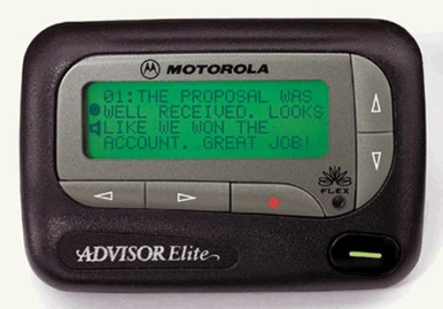 Motorola Advisor Elite Alpha Numeric pager with belt clip and holster. 4 line display with large type zoom feature. 24 message memory capacity, extra long battery life using AA batteries. time and date stamp, alarm clock feature. back light