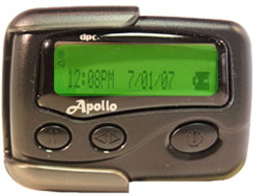 Apollo 924  Alpha Numeric Pager.  With Reversible Zoom Feature Zooming From 2 to 1 Line  Quick Scroll In One Line Mode Innerglow LCD Display 2 Line Display Feature 26 Memory Slots Unlimited Character Per Mail Drop Double Back Light Display 4 Beep Alerts, 8 Melody Alerts, Vibration and Sleep Mode Lithium Backup Battery 5 Daily Alarm SetsBenefits: Month, Date, Year, Time Display Selective Message Lock / Delete Spring Loaded Holster 3 Adjustable Scroll Speeds Built In Smart Chip Password Protection Sequential Lockout Option Data InvertInnerglow LCD Display