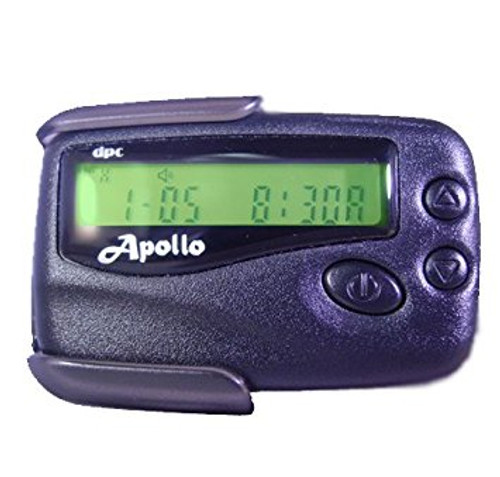 Apollo  202 Numeric Pager. 40 Alphanumeric Canned messages Time and Date Alarm Clock Selective erase Musical Alerts Silent Vibe Time & Date Stamping 10 Melody Alerts Message Lock Pager Slides out from Clip Holster (Included)  Available in Black or Clear