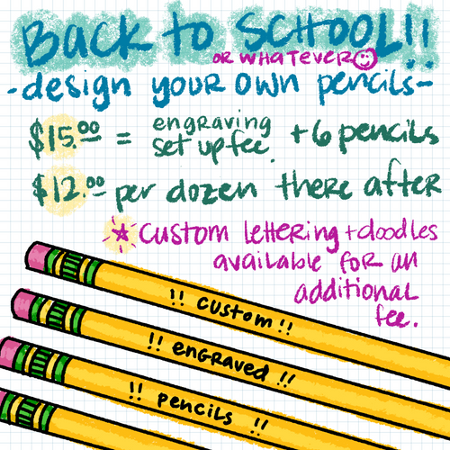 Custom Engraved Pencils [file set-up fee + 6 pencils]
