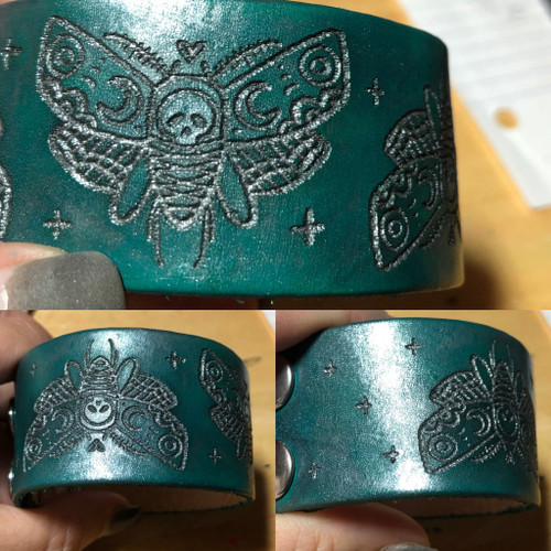Death's Head Moth Engraved Leather Cuff
