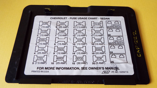 1993 Chevrolet Caprice Fuse Panel Cover 1992 Chevrolet Caprice Fuse Panel Cover 1991 Chevrolet Caprice Fuse Panel Cover