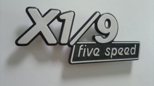 1981 FIAT X1/9 5-Speed Trunk Lid Emblem  1980 FIAT X1/9 5-Speed Trunk Lid Emblem  1979 FIAT X1/9 5-Speed Trunk Lid Emblem