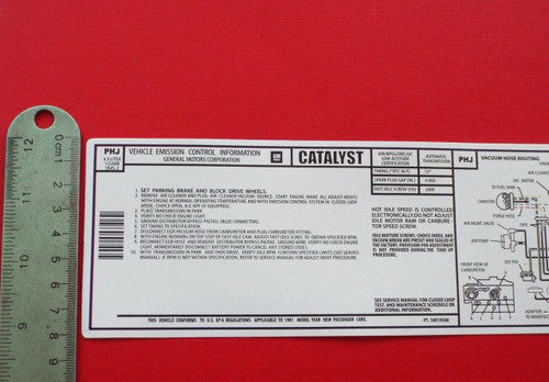 1981 Pontiac Trans Am Emissions Decal-Label. With Non-turbo 301- TA 4.9 Motor  1981 Pontiac Formula Emissions Decal-Label. With Non-turbo 301- TA 4.9 Motor