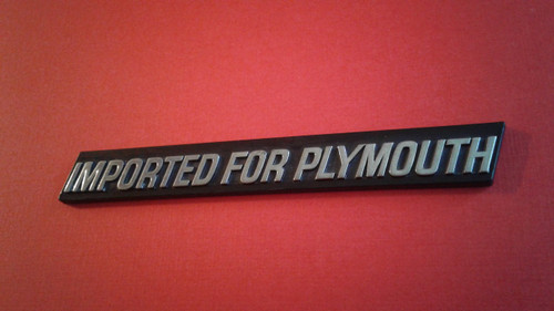 Original 1979-1980-1981-1982-1983-1984-1985-1986 Plymouth Imported For Plymouth Emblem-Badge
