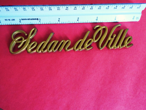 Original 1985-1986-1987-1988-1989-1990-1991-1992-1993 Cadillac Deville Quarter Panel Emblem-Badge-Gold color
