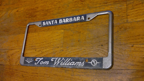 Vintage 1970s Tom Williams Santa Barbara Cadillac-Opel Dealership License Plate Frame