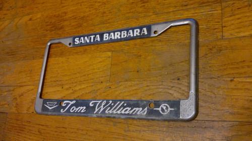 Vintage 1970s Tom Williams Santa Barbara Cadillac-Opel Dealership License Plate Frame
