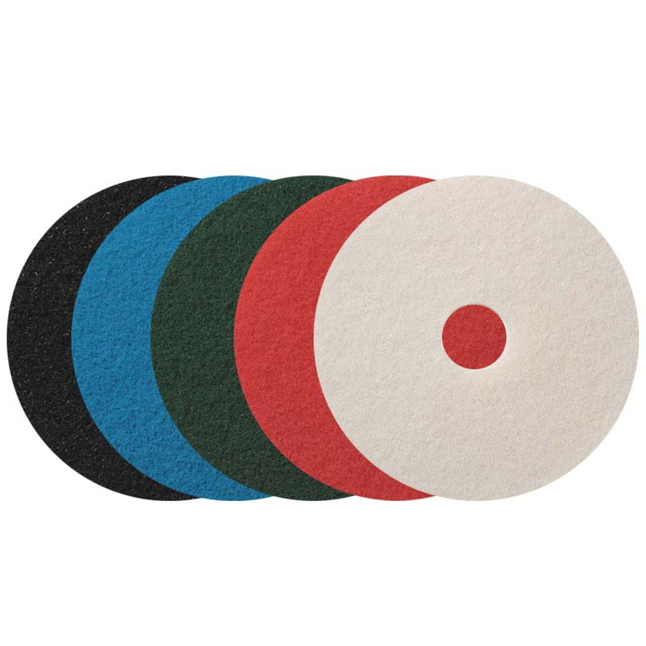 Oreck Orbiter Floor Pads 4370vp 12 Inch Variety Pack Standard Speeds Up To 300 Rpm One Each Of Black Brown Green Red White Case Of 5 Pads Total