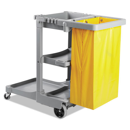 Boardwalk BWKJCARTGRA janitor cart with 24 gallon yellow