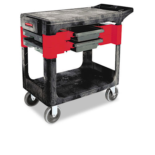 Rubbermaid rcp618000bla trades cart, two shelf, 19 .25w