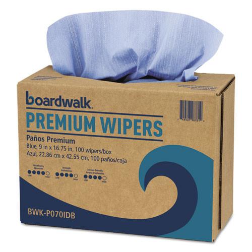 Boardwalk BWKP070IDB hydrospun wipers shop towel blue