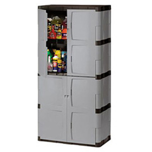 Rubbermaid storage cabinet 7083 4 shelves doors replaces
